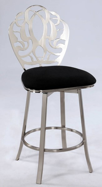 Black Microfiber Laser Cut & Memory Back Swivel Bar Stool CHF-0404-BS