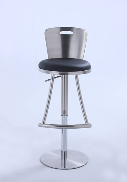 Chintaly Imports Brushed Nickel Black Metal Height Stool CHF-0406-AS