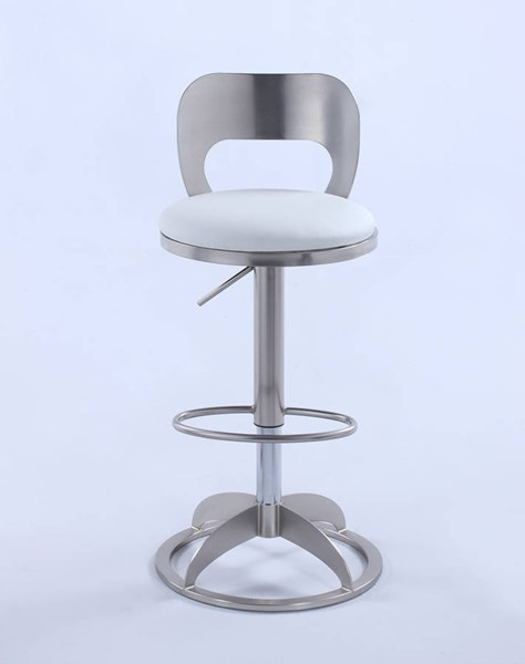 Chintaly Imports Brushed Nickel White Oval Height Stool CHF-0408-AS