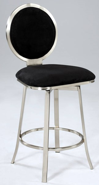Black Microfiber Upholstered Round Back Memory Swivel Counter Stool CHF-0459-CS