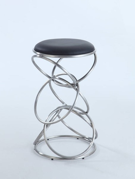 Chrome Metal Black PU Interlocking Multi-Ring Counter Stool CHF-0545-CS-BLK