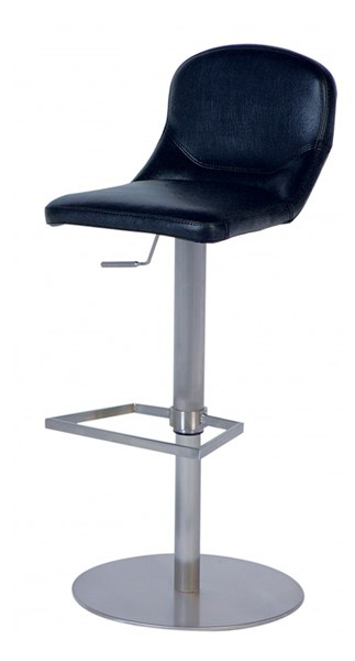 Modern Black PU Pneumatic Gas Lift Adjustable Height Swivel Bar Stool CHF-0567-AS-BLK