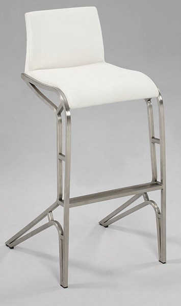 2 Modern White PU Brushed Stainless Steel Feet Bar Stools CHF-0569-BS