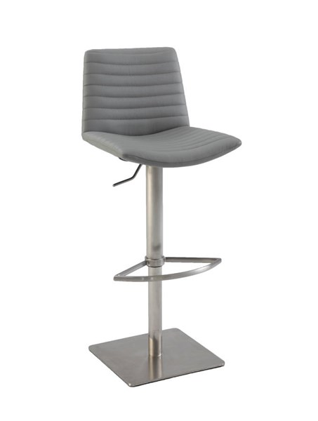 Chintaly Imports Gray Ribbed Back and Seat Pneumatic Stool CHF-0572-AS-GRY