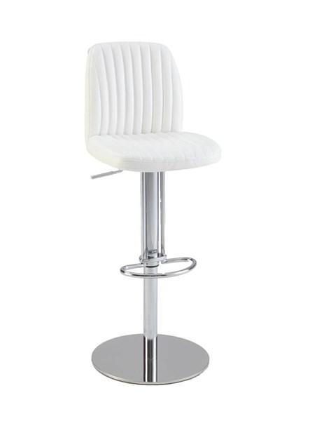 White PU Ribbed Back & Seat Pneumatic Stool CHF-0573-AS-WHT