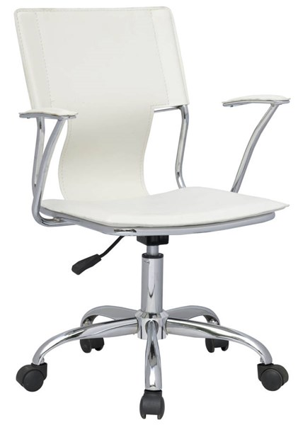Modern White PVC Pneumatic Gas Lift Swivel Arm Chair CHF-0648-CCH-WHT