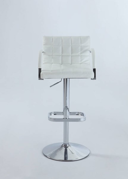 Chrome White PU Quilted-Back Pneumatic Gas Lift Swivel Stool CHF-0660-AS-WHT