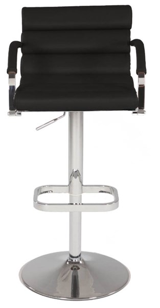 Black PU Pneumatic Gas Lift Swivel Height Stool w/Roll Back & Seat CHF-0661-AS-BLK