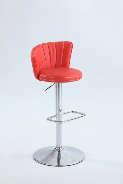 Chrome Red PU Metal Stitched Fan-Back Design Pneumatic Stool CHF-0681-AS-RED