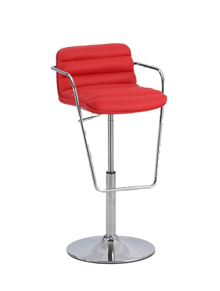 Red PU Ribbed Pattern Pneumatic Stool W/arms CHF-0692-AS-RED