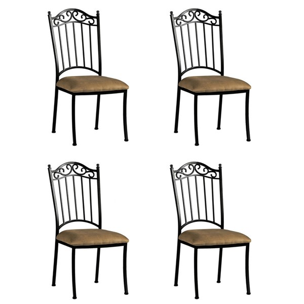 4 Chintaly Imports Antique Taupe Wrought Iron Side Chairs CHF-0710-SC
