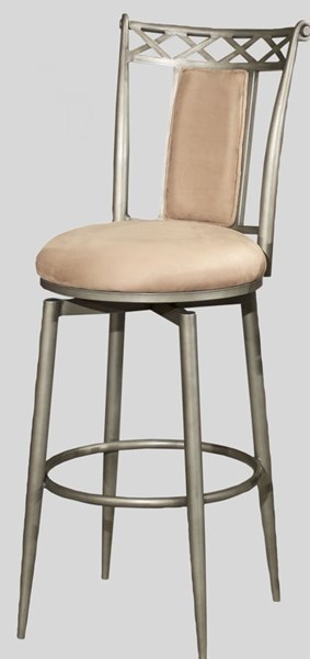 Rust Silver Taupe Suede 26 Inch Memory Return Swivel Counter Stool CHF-0724-CS-SLV