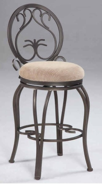 Taupe Dark Champagne Suede Memory Return 30 Inch Swivel Bar Stool CHF-0745-BS