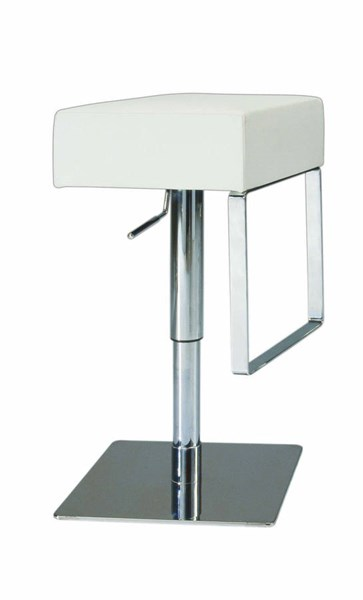 White PVC Low Back Pneumatic Gas Lift Adjustable Height Swivel Stool CHF-0811-AS-WHT