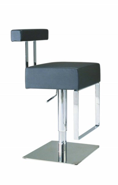 PVC Stainless Steel Pneumatic Gas Lift Adjustable Height Swivel Stool CHF-0812-AS-BLK