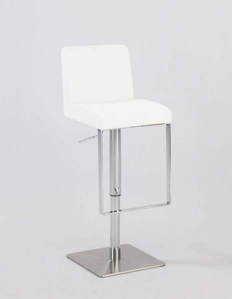 White PVC Stainless Steel Pneumatic Gas Lift Swivel Stool CHF-0813-AS-WHT