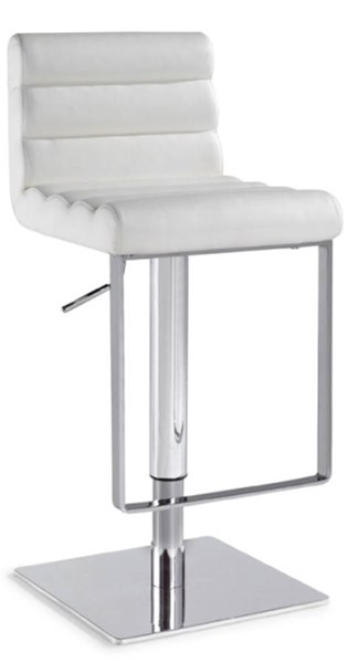 White PVC Steel Pneumatic Gas Lift Adjustable Height Swivel Stool CHF-0830-AS-WHT