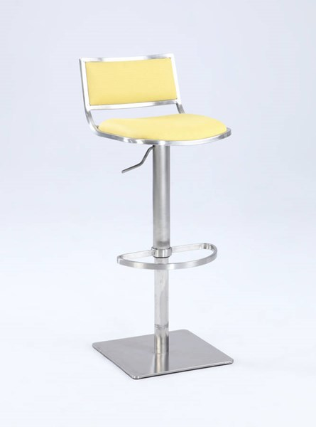 Contemporary Gray PU Open Back Pneumatic Stool CHF-0895-AS-YLW