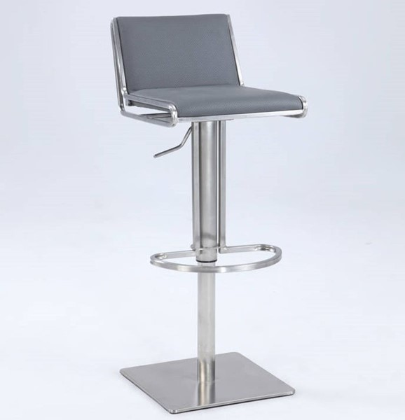 Chintaly Imports Gray Stainless Steel Pneumatic Stool CHF-0896-AS-GRY