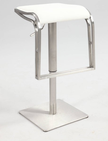White PU Backless Pneumatic Gas Lift Adjustable Height Swivel Stool CHF-0897-AS-WHT