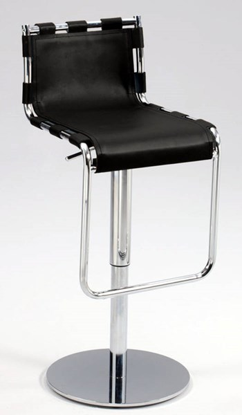 Leather Strap Back Pneumatic Gas Lift Adjustable Height Swivel Stool CHF-0963-AS-BLK