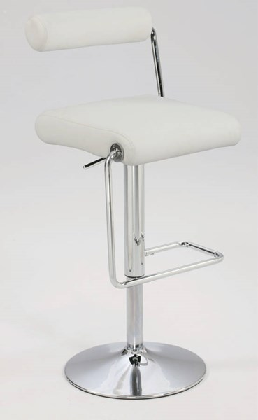 White PU Roll Back Pneumatic Gas Lift Adjustable Height Swivel Stool CHF-0979-AS-WHT