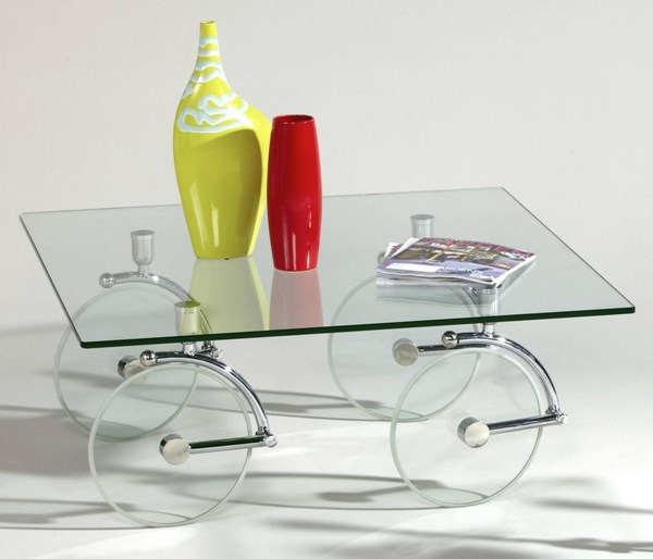 Chrome Glass Square Cocktail Table W/casters CHF-1105-CT-TB
