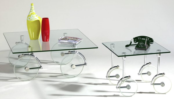 Chrome Glass Casters Coffee Table Set W/wheels CHF-1105-CT