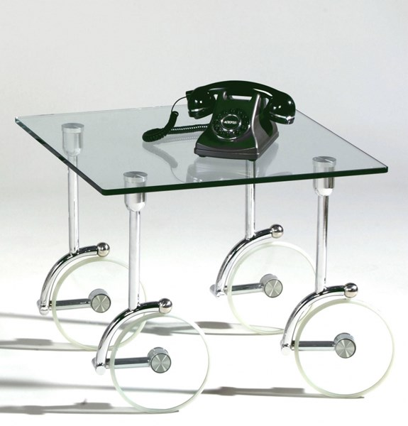 Chrome Glass Square Lamp Table W/Casters CHF-1105-LT-TB