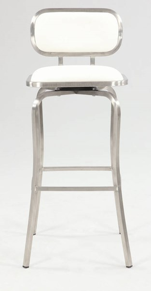 Modern White PU Brushed Stainless Steel Swivel Bar Stool CHF-1192-BS-WHT