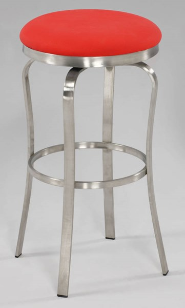 Modern Red PU Brushed Stainless Steel Modern Backless Bar Stool CHF-1193-BS-RED