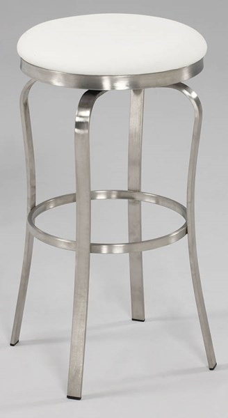 Modern White PU Brushed Stainless Steel Backless Bar Stool CHF-1193-BS-WHT