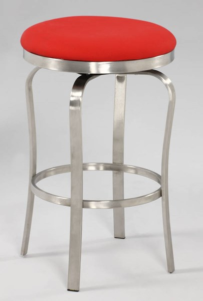 Modern Red PU Brushed Stainless Steel Backless Counter Stool CHF-1193-CS-RED