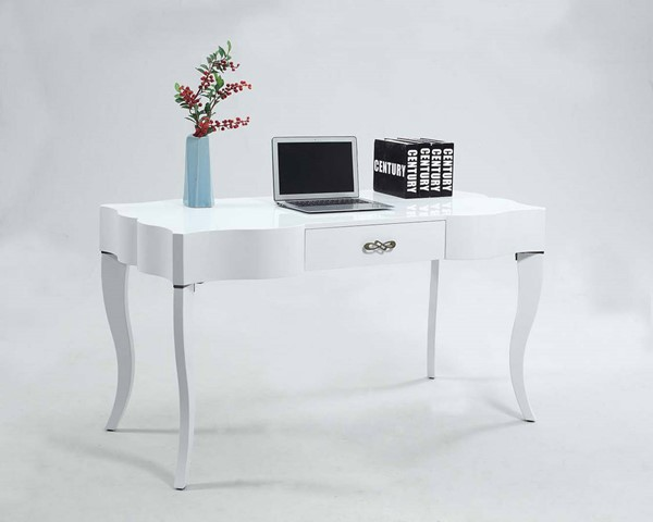 Chintaly Imports Cabriolet Leg Computer Desk with Drawer CHF-1214-DSK-WHT