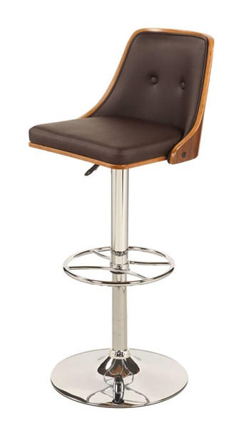 Modern Brown Walnut PU Upholstered Back Pneumatic Stool CHF-1353-AS-BRW