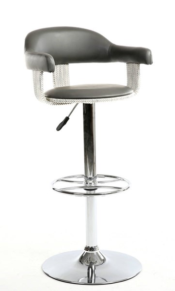Chintaly Imports Grey Pneumatic Adjustable Stool CHF-1386-AS-GRY