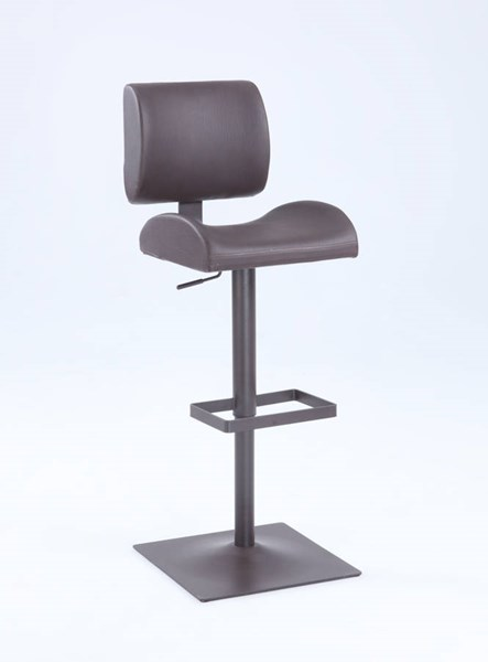Contemporary PU Slightly Curved-In Oversized Seat Adjustable Stool CHF-1873-AS-BRW