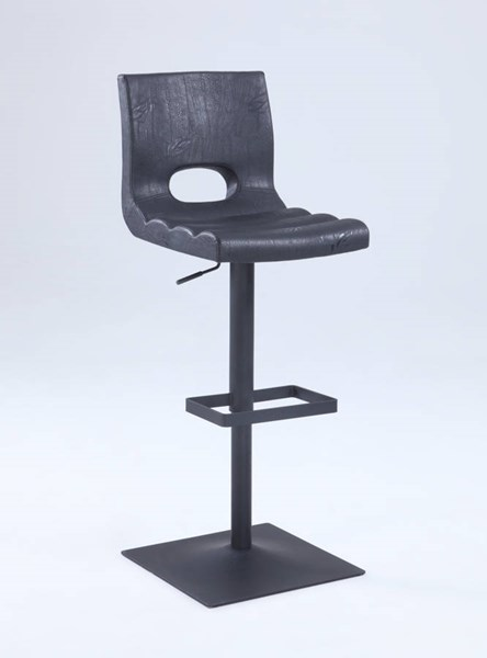 Contemporary Two Tone Black PU Cut Back Oversized Pneumatic Stool CHF-1885-AS-BLK