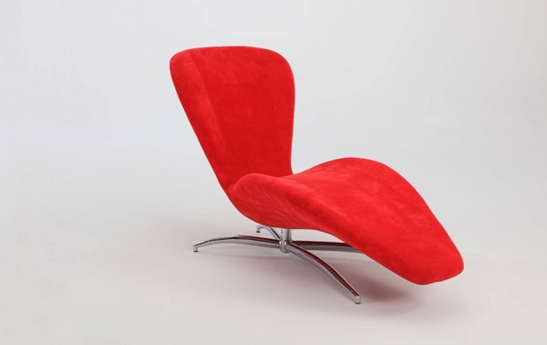 Modern Red Faux Velvet Reclining Chaise Lounge Chair CHF-2415-LNG-RED