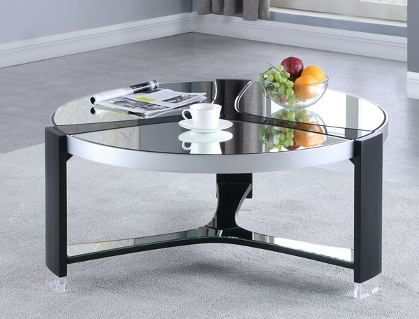 Chintaly Imports Matte Black Clear Round Mirror Top Cocktail Table CHF-2914-CT
