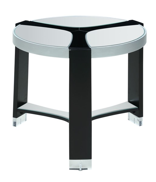 Chintaly Imports Matte Black Clear Round Mirror Top Lamp Table CHF-2914-LT