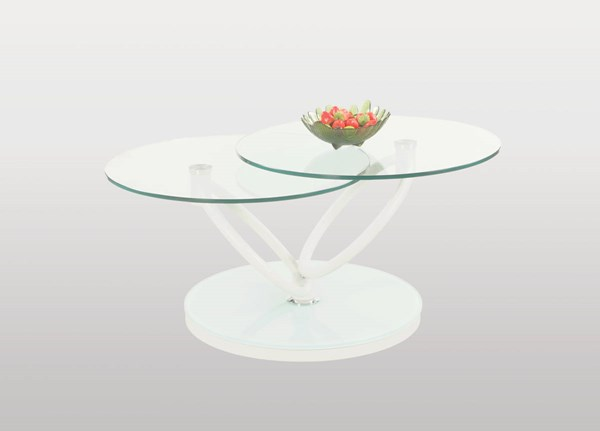 Modern Matt White Glass Metal Coffee Table Set CHF-3272-OCT
