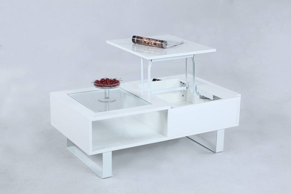 Chintaly Imports Raised Top and Hidden Storage Cocktail Table CHF-3511-CT