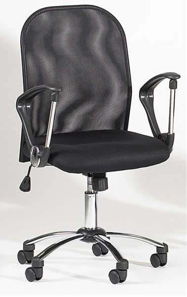 Chintaly Imports Black Mesh Back Swivel Tilt Chair CHF-3696-CCH