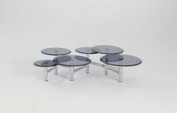 Modern Gray Chrome Glass Round Cocktail Table CHF-4033-CT-TB