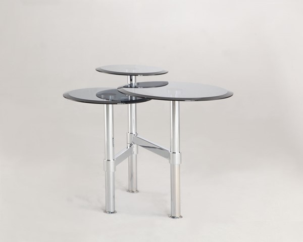 Chintaly Imports Gray Tinted Glass Lamp Table CHF-4033-LT