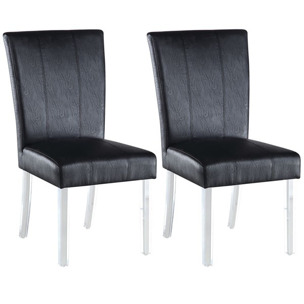 2 Chintaly Imports Black PU Parson Side Chairs CHF-4038-PRS-SC-BLK