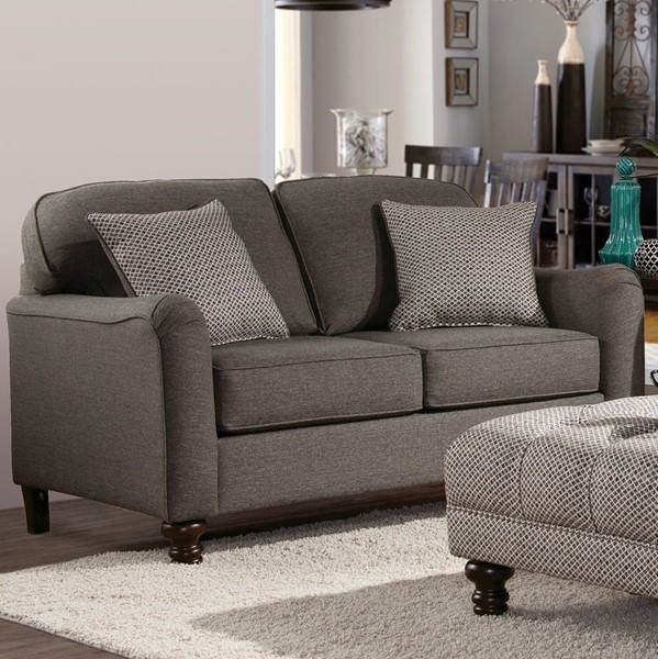 Chintaly Imports Walnut Gray Fabric Love Seat CHF-4050-LOVE-GRY