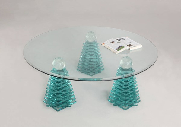 Modern Glass Cocktail Table W/36 Inch Glass Top CHF-4128-CT-GL36-TB