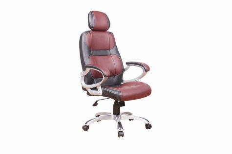 Chintaly Imports Silver Black Headrest Office Chair CHF-4238-CCH-BRG